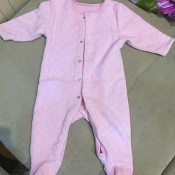 Jumpsuit fleece poddeva for a girl 3-6 months