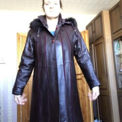 Wine-colored leather coat