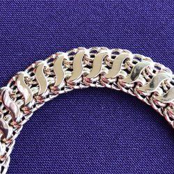 Золотой браслет Бисмарк в два ряда с накладками (