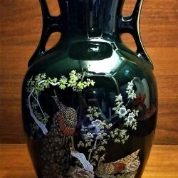 Tavus kuşu kulplu Japon porselen vazo