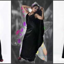 Satin formal maxi elbise