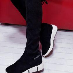 Stylish boots stockings velor
