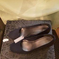 Туфли замшевые темносиние 40р 25,5см стелька новые
