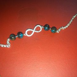 Bracelet on hand or foot. Chrysocolla