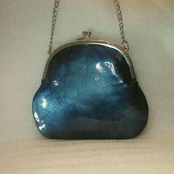 Handbag aqua (leather, handmsde)