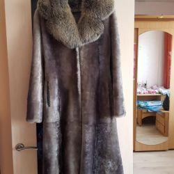 Γκρι-γαλάζιο παλτό Mouton. Η ανταλλαγή είναι δυνατή
