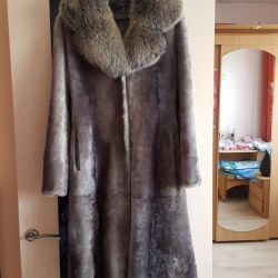 Gray-blue Mouton fur coat. Exchange is possible
