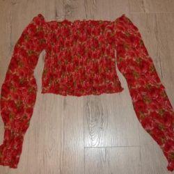Bluza strălucitoare cu imprimare florală