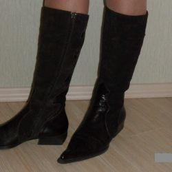 Winter boots, natur. fur, leather and suede, rr 37
