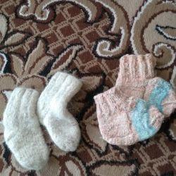 Knitted socks for baby