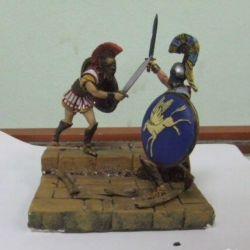 Vignette-diorama - μονομαχία των Αρχαίων Ελλήνων της Σπάρτης
