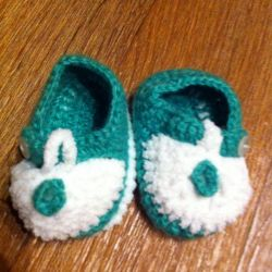 Booties green and white