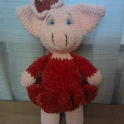 Noel domuz peluş iplikten yapılmış
