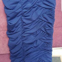 Синее коктейльное  платье хс
