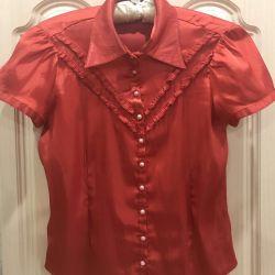 Красная атласная блузка Адилишик