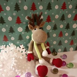 Knitted deer Rudolph.