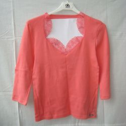 T-shirt wives 46, coral lace New