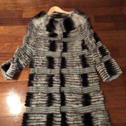 Coat de chinchilla orilag, lână cașmir căptușeală