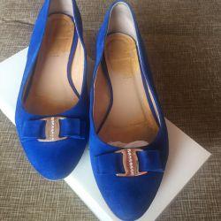 Shoes / ballet shoes leather blue