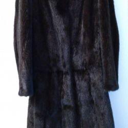 Mink fur coat, natural solid fur, r. 46