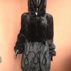 Mink coat with a hood 44/46