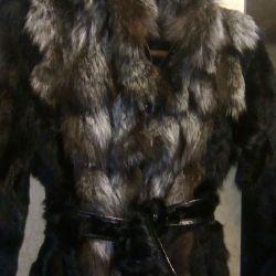 Palton natural din blană de vulpe argintie