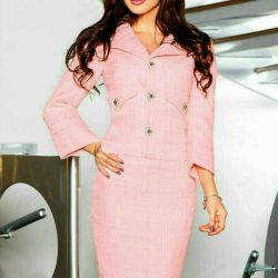 Suit with skirt pink