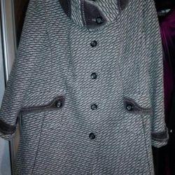 Драповое укороченное пальто р.60