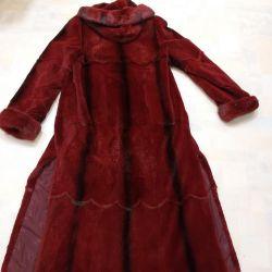 Ανταλλαγή, ψαλιδωμένο παλτό, χρώματος μπορντώ, r. 44-48