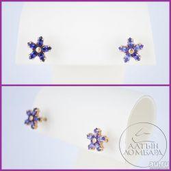 Gold earrings 585 tests. Art.N0020.