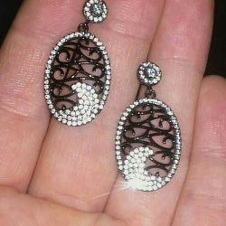 серебряные серьги-гвоздики черное золото