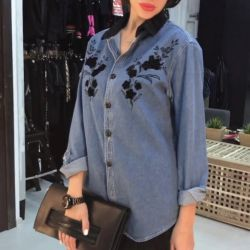 Denim shirt with embroidery new