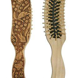 Massage comb, birch bark - embossed NEW