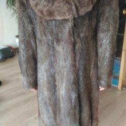 Nutria natural fur coat