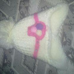 Kızlar için kış ısıtmalı şapka