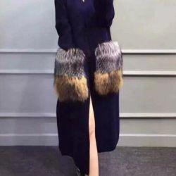 Stylish cardigan-NATURAL fur (fox). One size