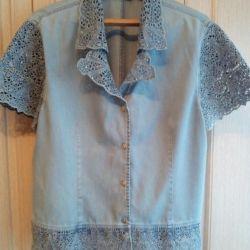 Джинсовая рубаха женская р.54-56