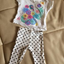 Set for girls 4-10 months leggings and T-shirt