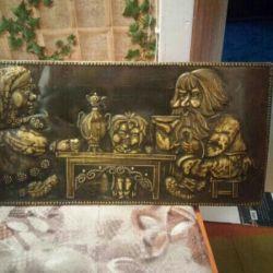 Картина из латуни чеканка на кухню