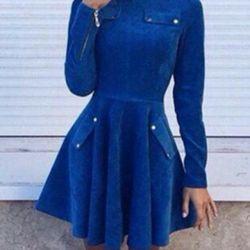 Mavi kadife elbise Yeni P.46-48.