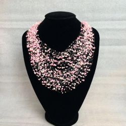 Baby pink airy beaded necklace