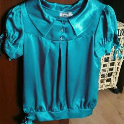 Bright satin blouse, size 42