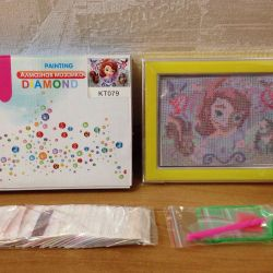 Diamond mosaic for children with a frame
