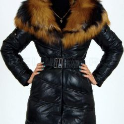 Winter leather down jacket with fox fur 42