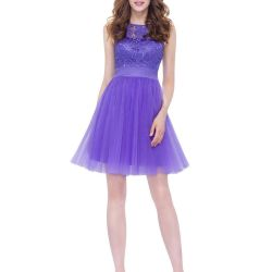 Lilac cocktail dress with lace