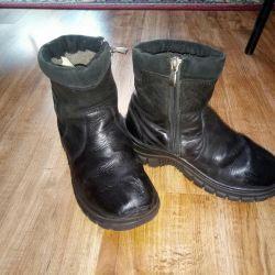 Deri çizme ve natürel kürk 35
