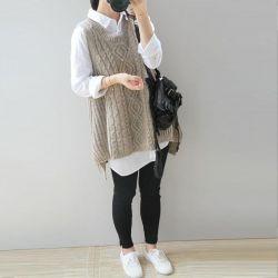 Sleeveless jacket female large knitting