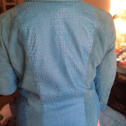 Jachetă din piele cu piele de căprioară