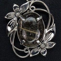 Брошь, рутиловый кварц (природный), 925 серебро.