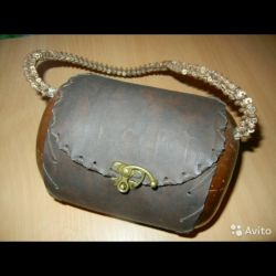 Exclusive leather bag + natural walnut